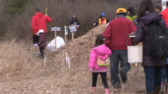 Students plant trees on Earth Day in Markham Canada v55 Stock Footage