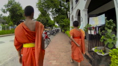 Morning alms giving ceremony Stock Footage