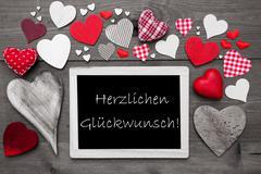 Gray Chalkbord, Red Hearts, Herzlichen Glueckwunsch Means Congratulations - stock photo