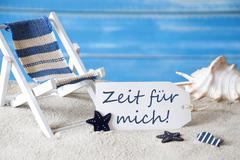 Summer Label With Deck Chair, Zeit Fuer Mich Mean Time For Me - stock photo