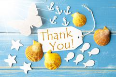 Sunny Summer Greeting Card With Thank You - stock photo