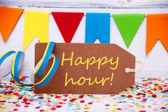 Label With Party Decoration, Text Happy Hour Stock Photos