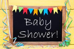 Chalkboard With Party Decoration, Text Baby Shower - stock photo