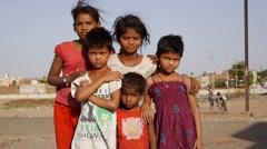 Indian poor kids standing - stock footage
