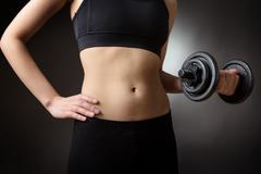 weightlifting dumbells - stock photo