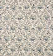 White and Blue Floral Design Diagonal Pattern Wallpaper Swatch - stock photo