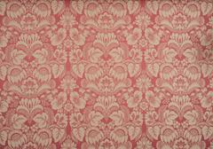 Red Wallpaper with Floral Pattern Stock Photos