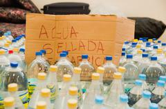 Quito, Ecuador - April 23, 2016: Water donated by citizens of Quito providing - stock photo