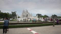 Visitors at Wat Rong Khun temple Stock Footage
