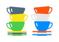 Red cup coffee tea or drink cafe morning beverage kitchen accessory flat vector - stock illustration
