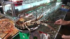 Fresh Lobster on night market Stock Footage