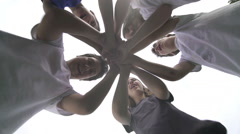 Group of children performing sports greeting,motivational scene by Sheyno. Stock Footage