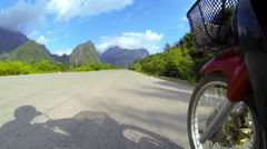 Motorbike wheel point of view Stock Footage