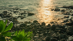 4K Hawaii Big Island Kona Rocky Beach Sunset Stock Footage