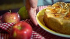Traditional american apple pie on kitchen table. Closeup. Autumn dessert Stock Footage