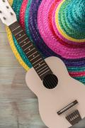 Mexican background with sombrero and guitar Kuvituskuvat
