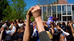 Different races show unity during a peace march in Baltimore, MD. Stock Footage