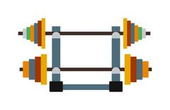 Dumbbell exercise weights gym fitness equipment vector - stock illustration