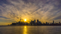 City of Toronto Sunset Time Lapse Day To Night 4K 1080p Stock Footage
