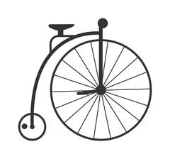 Retro style vintage bike nineteenth century bicycle old wheel transport isolated - stock illustration