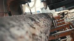 wood cutting machine board log - stock footage