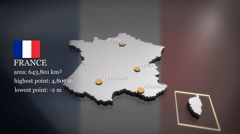 3D animated Map of France Stock Footage