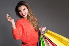 Back from a shopping expedition - stock photo