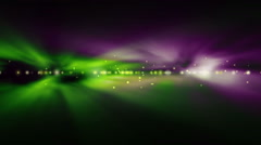 Background with bright green and purple lights bl Stock Footage