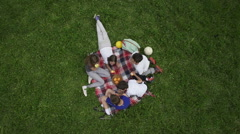 Children eat fruit on a picnic, crane shot in slow motion by Sheyno. Stock Footage