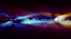Background with bright blue and orange lights blurred Stock Footage