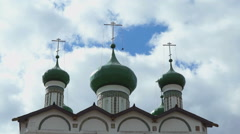 Green domes with Orthodox crosses of the monastery Stock Footage