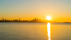 City of Toronto Sunrise Time Lapse Clear day 4K 1080P Stock Footage