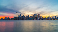 Toronto Skyline Sunset Time Lapse Day to Night 4K 1080P Logos Removed Stock Footage