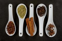 Parallel Spoons of Five Spice Top View Stock Photos