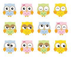 Set twelve nice simple owls in various moods cartoon style - stock illustration