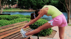 Young Female Athlete Working Out Outdoors - stock footage