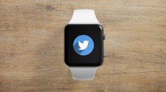 4k - Twitter icon on smartwatch - stock footage