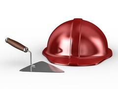 New construction trowel and red helmet isolated on white. 3D image Stock Illustration