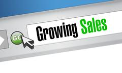growing sales website sign concept - stock illustration