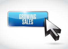 growing sales button sign concept - stock illustration