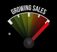 growing sales meter sign concept - stock illustration