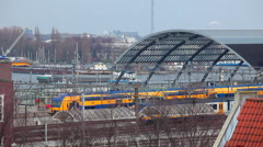 Intercity Train, Amsterdam Centraal, Holland. The Netherlands Stock Footage