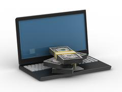 Computer and cashes. Isolated 3D image on white Stock Illustration