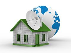 Satellite aerial on house. Isolated 3D image Stock Illustration