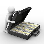 Open suitcase with dollars on white background. Isolated 3D image Stock Illustration
