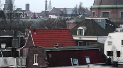 Amsterdam City Roof Top Cathedral Panorama, Holland. Stock Footage