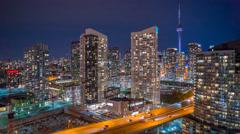 Panning CN Tower Toronto Night Time Lapse Gardiner Expressway 4K 1080P Arkistovideo