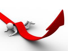 Man climb red arrow. Isolated 3D image Stock Illustration