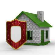 House and shield on white background. isolated 3D image Stock Illustration