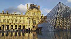 Paris France The Louvre Museum 4K Stock Video Footage Stock Footage